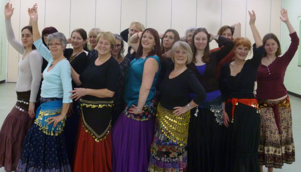 Belly dancers at a class in Norwich.